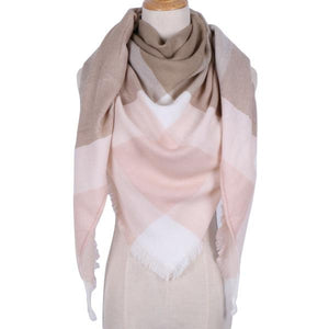 Winter Triangle Scarf For Women 2019 - Khaki Pink - Awesales