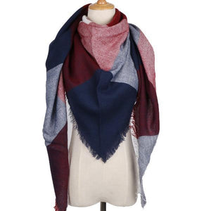 Winter Triangle Scarf For Women 2019 - NavyRed - Awesales
