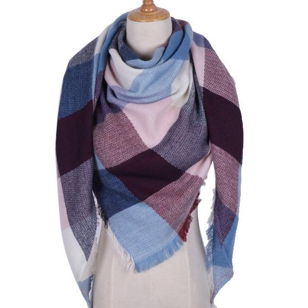 Winter Triangle Scarf For Women 2019 - Pink Blue - Awesales