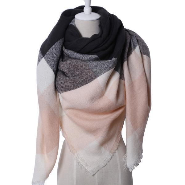 Winter Triangle Scarf For Women 2019 - PinkBlack - Awesales