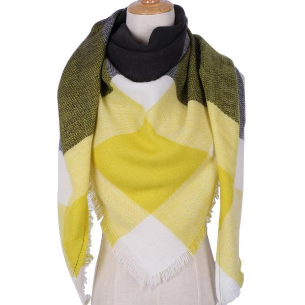 Winter Triangle Scarf For Women 2019 - YellowBlack - Awesales
