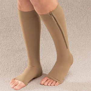 Zipped Open Toe Compression Socks - Beige 43cm - Awesales