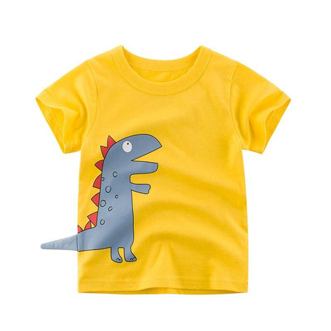 t shirt dinosaure dino queue 3d jaune