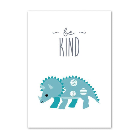 decoration dinosaure tableau enfant triceratops be kind
