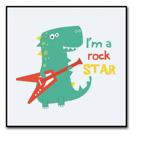 decoration dinosaure tableau enfant rock star