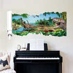 decoration dinosaure stickers mural observation piano
