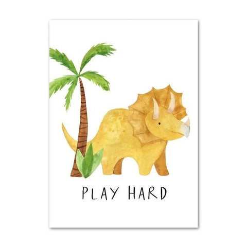 decoration dinosaure tableau enfant triceratops play hard