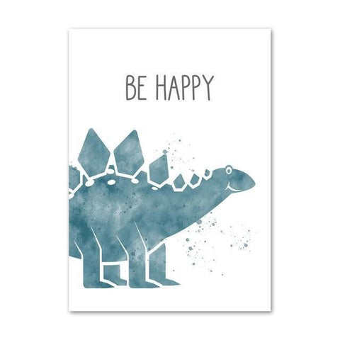 decoration dinosaure tableau enfant stegosaure be happy