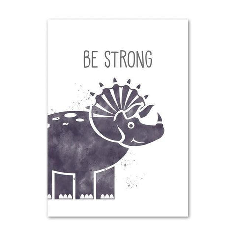 decoration dinosaure tableau enfant triceratops be strong