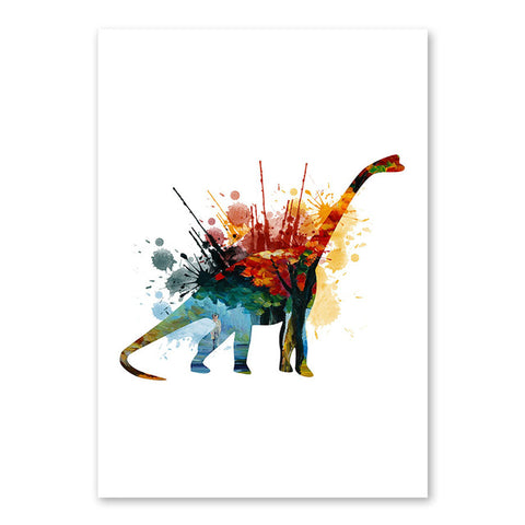 decoration dinosaure tableau enfant diplodocus colore