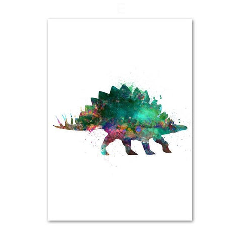 decoration dinosaure tableau enfant stegosaure colore