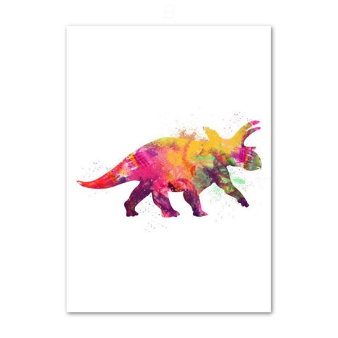 decoration dinosaure tableau enfant albertaceratops colore