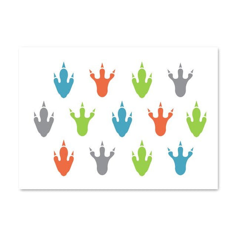 decoration dinosaure tableau enfant empreintes colorees