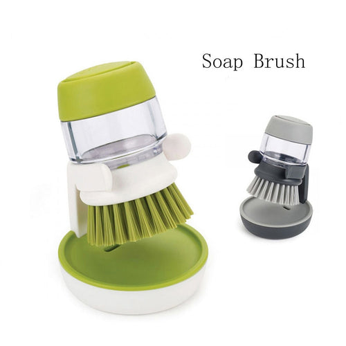 1PCS Palm Scrub Dish Brush with Washing Up Liquid Soap Dispenser Storage Stand Kitchen Cleaning Tool cleaning brush F