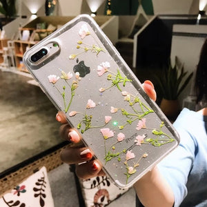 Real Flowers Dried Flowers soft Back Cover für iPhone X 6 6S 7 8 plus Transparent Phone Case for iphone X