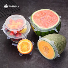 Load image into Gallery viewer, WORTHBUY 6 Pcs/ Set Universal Silicone Cover Fresh Keeping Silicone Stretch Lids Caps For Food