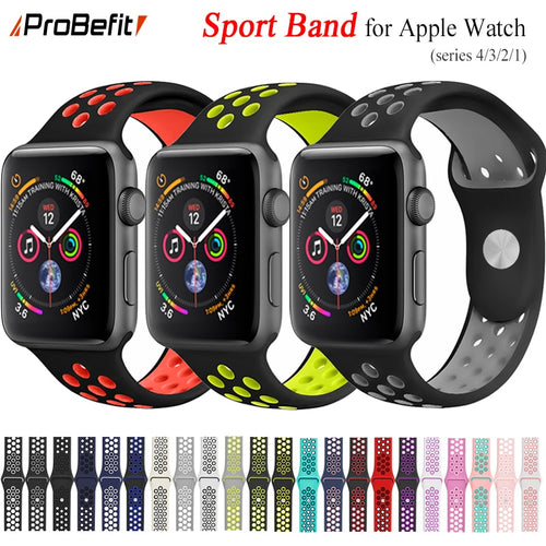 New Breathable Silicone Sports Band for Apple Watch 4 3 2 1 42MM 38MM 40MM 44 MM rubber strap bands for Nike+ Iwatch 4 3 40mm 44mm