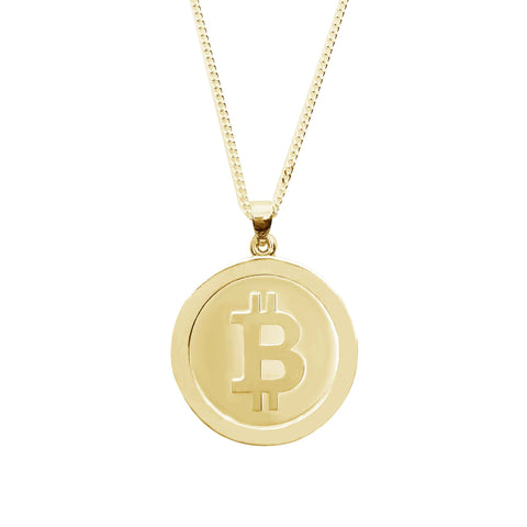 BTC Bitcoin crypto necklace pendant gold-cryptocurrency-jewelry