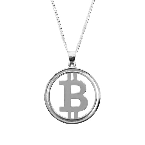 BTC Bitcoin necklace pendant silver-cryptocurrency-jewelry