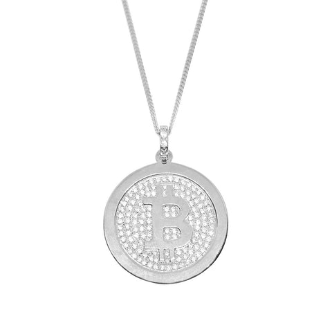 """BlingCoin"" - Bitcoin Gold Necklace with Zirconia stones"