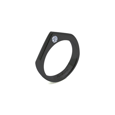 Ca Pique - Black Rhodium Ring - Zirconia