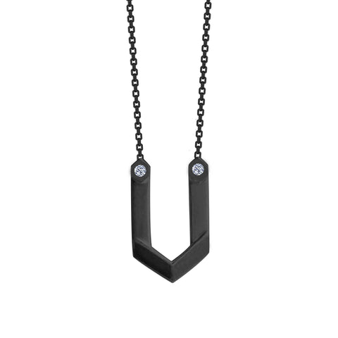 Hexagone - Black Rhodium Pendant - Zirconia