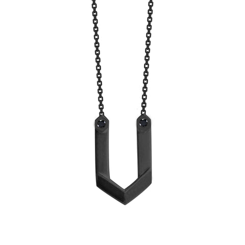 Hexagone - Black Rhodium Pendant - Onyx
