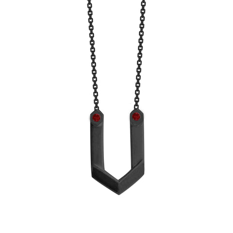 Hexagone - Black Rhodium Pendant - Ruby