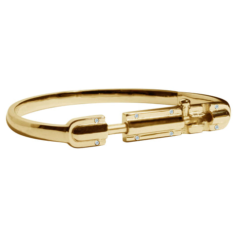 Bolt - Hinge Bracelet - Gold with Zirconia