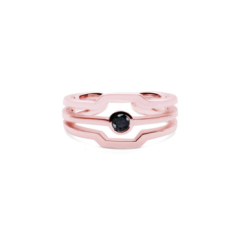 Terminator - Pink Gold Ring - Onyx