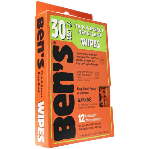 Ben's - Insect Repellent Wipes 12/box. Stay protected from all those annoying insects while enjoying the outdoors. It would also make a great addition to your emergency or survival kit.