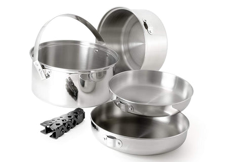 GSI - Glacier Stainless Cookset, Large. Indestructible camping cookset to take on any outdoor adventure. Would make a great addition to your travel trailer, help keep the weight down.