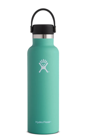 Hydro Flask - 21 oz Standard Mouth with Flex Cap. Keeping your fluid intake on the upside is easy when you've got this portable travel buddy. Take this colourful bottle on any outdoor activity. Keeps your beverages cold up to 24hrs or hot for up to 12hrs.