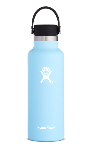 Hydro Flask - 18oz Standard Mouth Bottle. Keeping your fluid intake on the upside is easy when you've got this portable travel buddy. Take this colourful bottle on any outdoor activity. Keeps your beverages cold up to 24hrs or hot for up to 12hrs.