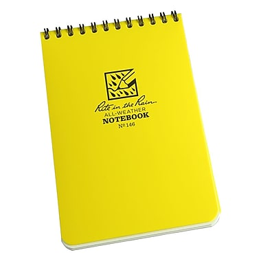 Rite in the Rain - All Weather Pocket Top-Spiral Notebook (No. 146 - 4 x 6). Now you don't have to worry about your paper getting wet when you are out on your outdoor adventures with these easy to care all weather notebooks