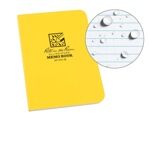 "Rite in the Rain - MINI MEMO BOOK (No. 374-M, 3 1/2"" x 5""). Take out on your next outdoor adventure with no worries that your notebook will be ruined."