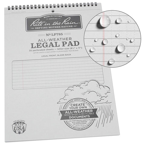 "Rite in the Rain - All-Weather Legal Pad (8 1/2"" x 11"")"