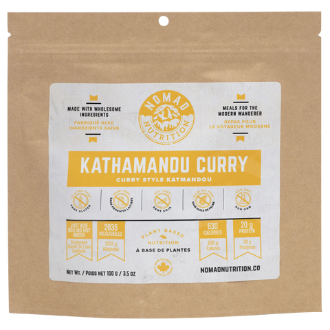 Nomad Nutrition - Vegan Kathmandu Curry, 100g. No compromising on taste and quality when it comes to enjoying a meal in the outdoors. This Kathamandu Curry would make a great addition to your outdoor adventure or emergency kit.