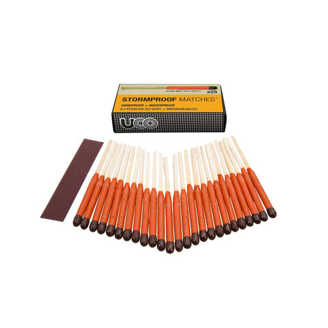 UCO - Stormproof Matches, Box of 25. No worrying about the weather and starting a fire when enjoying the great outdoors. These matches would also make a great addition to your emergency kit.
