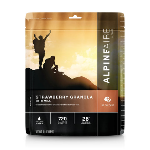 Alpineaire - Strawberry Granola with Milk. They say breakfast is the most important meal of the, so why not start your outdoor adventures with a high protein meal. This meal would also make a great addition to your emergency / survival kit.