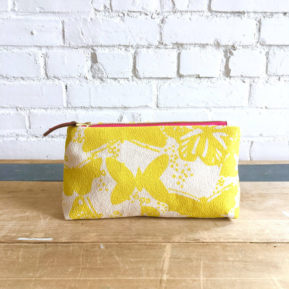 Lemon Butterflies Makeup Bag