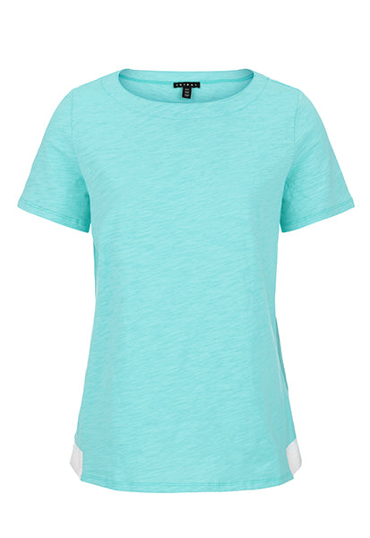 Short Sleeve Top with Contrast Hem