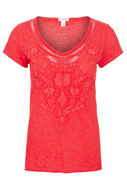 Embroidered Sweetheart Top
