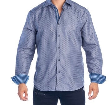 Mens Grey Diamonds Dress Shirt