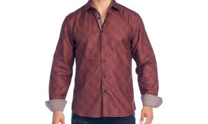 Mens Rust Print Dress Shirt