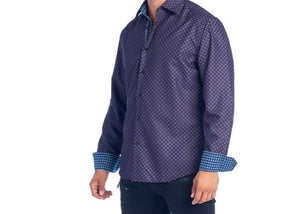 Mens Purple Diamond Dress Shirt