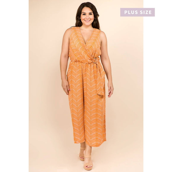 Winslow Collection - PLUS SIZE  D RING  V NECK SLEEVELESS JUMPSUIT