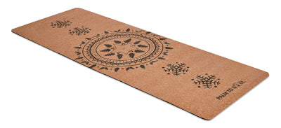 Natural cork with bio-rubber backing Black sun spirit design