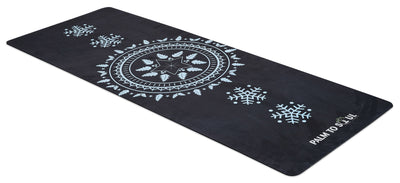 Vegan Suede with Bio-rubber backing yoga mat sun spirit design Light Blue