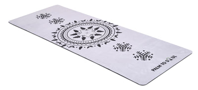 Vegan Suede with Bio-rubber backing yoga mat sun spirit design black